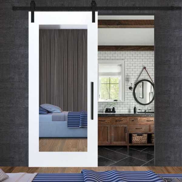Sliding Barn Door with mirror insert and carbon steel sliding system