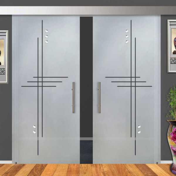2-Leaf Glass Barn Door (Model DSGD-ALU100-0025 Semi-Private)