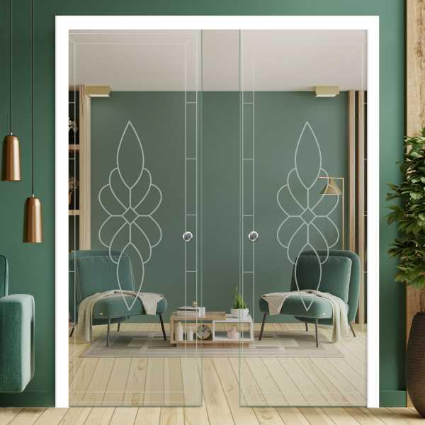 Double Pocket Glass Barn Door (Model DPSGD-0052 Semi-Private)_Recessed Grip Handle