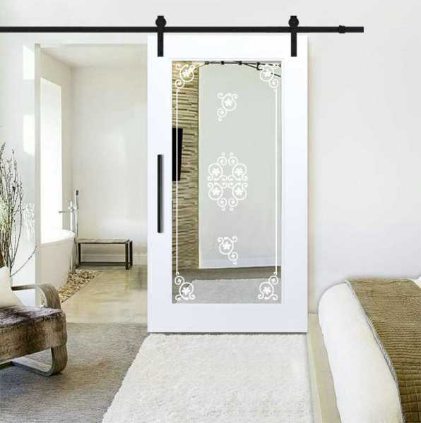 Sliding Barn Door with mirror insert (frosted design) and carbon steel sliding system