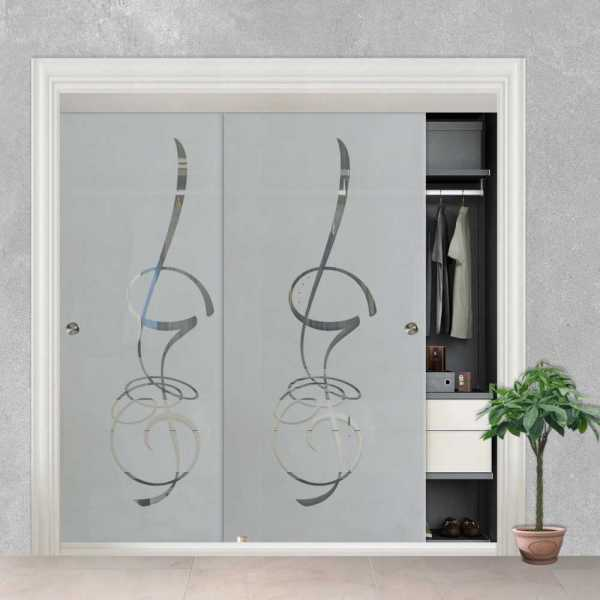 Frameless 2 Leaf Sliding Closet Bypass Glass Door with Hardware CGD-0007