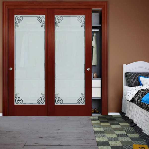 Frameless 2 Leaf Sliding Closet Bypass Glass Door with Hardware CGD-0001