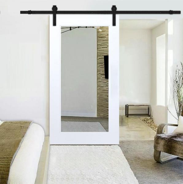 "++Sales Offers++ 32"" x 81"" Mirrored Sliding Barn Door with Mirror Insert, ""Open Box"""