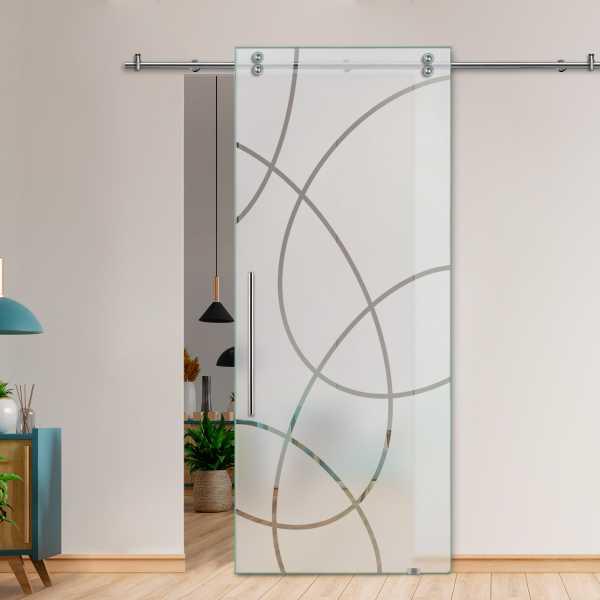 Glass Barn Door (Model SGD-V2000-0027 Semi-Private)