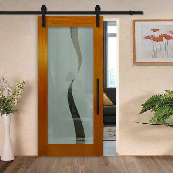 Solid mahogany sliding door with glass insert (semi-private frosted design) and carbon steel sliding system