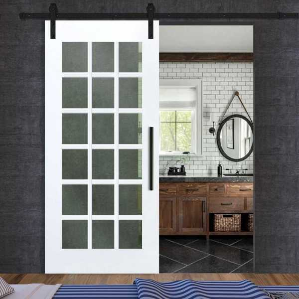 18 Lite French Sliding Barn Door with Clear, Frosted or Textured Glass Insert WGD-0127