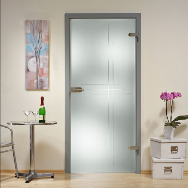 """Hinged Glass Door Frosted with Clear Lines Design 29""""x80"""" Inch + Hardware"""
