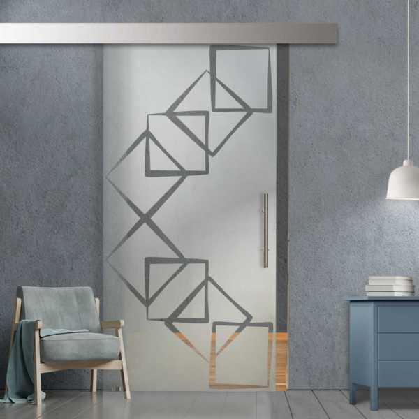 Glass Barn Door (Model SGD-ALU100-0210 Semi-Private)