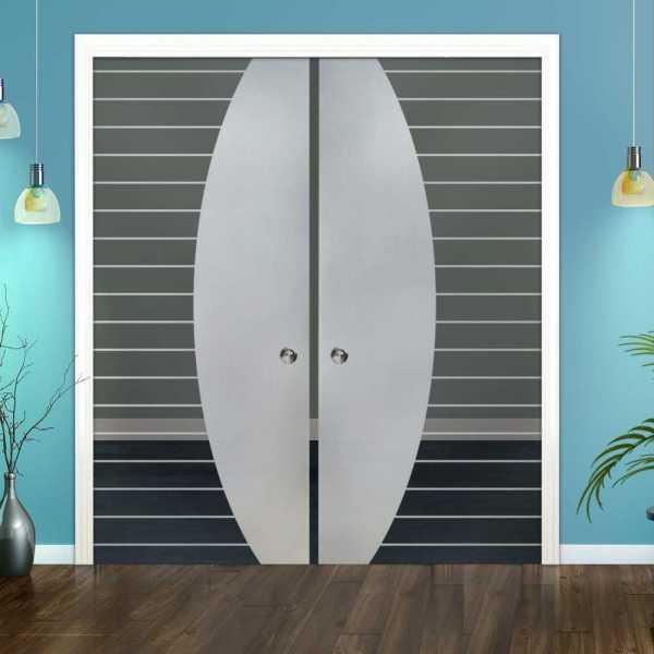 Double Pocket Glass Barn Door (Model DPSGD-0115 Semi-Private)_Recessed Grip Handle