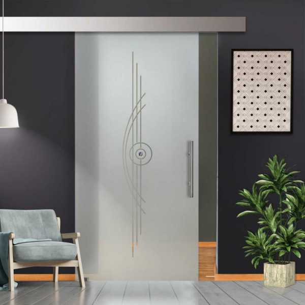 Glass Barn Door (Model SGD-ALU100-0256 Semi-Private)