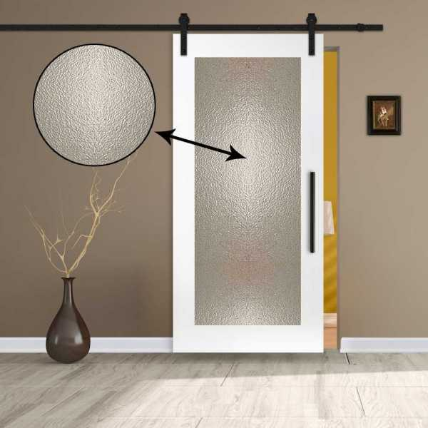 Sliding Barn Door with hammered glass insert and carbon steel sliding system