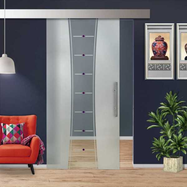 Glass Barn Door (Model SGD-ALU100-0254 Semi-Private)
