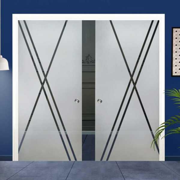 Double Pocket Glass Barn Door (Model DPSGD-0004 Semi-Private)_Recessed Grip Handle