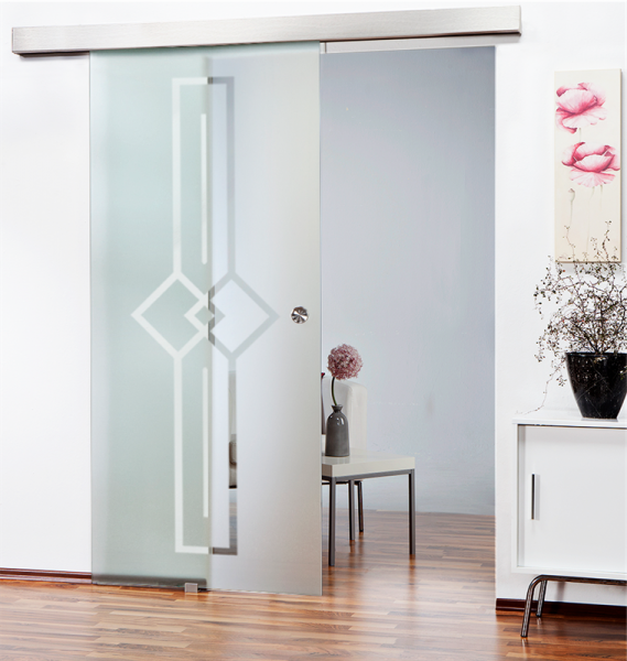 Glass Barn Door (Model SGD-ALU100-0142 Semi-Private)