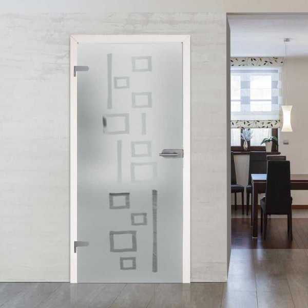 "30""x86"" Interior Glass Door Frosted with Design + Hardware + Jambs and Casings (Left)"