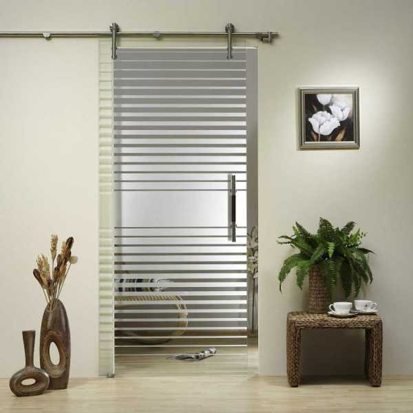 Single Leaf Barn Glass Door With Sliding System Clear Frosted