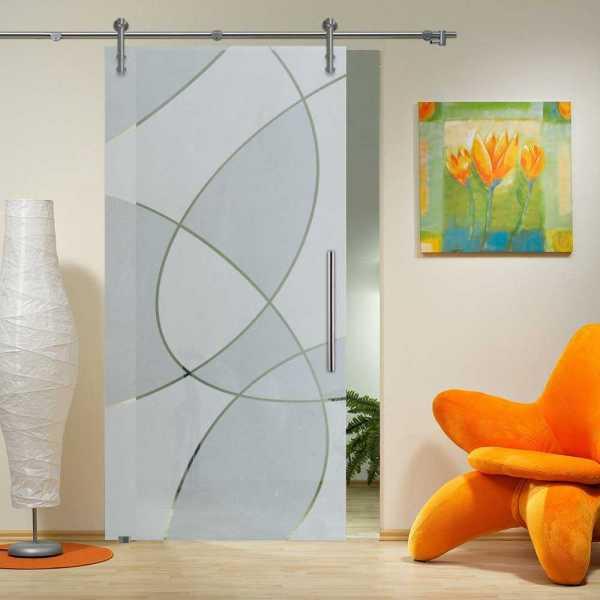 Single Sliding Glass Barn Door SGD-V1000-0046