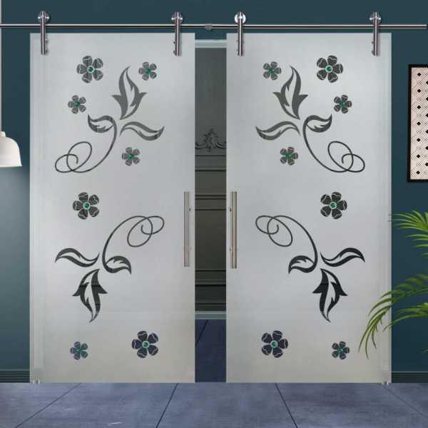 Double Glass Barn Door (Model DSGD-V1000-0018 Semi-Private)