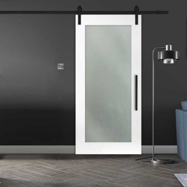 Frosted 1 Lite Sliding Barn Door with Glass Insert (Open to Left)