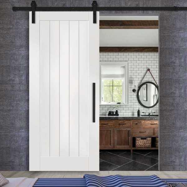 1 Panel Sliding MR MDF Shaker Barn Door with V-Groove and carbon steel sliding system