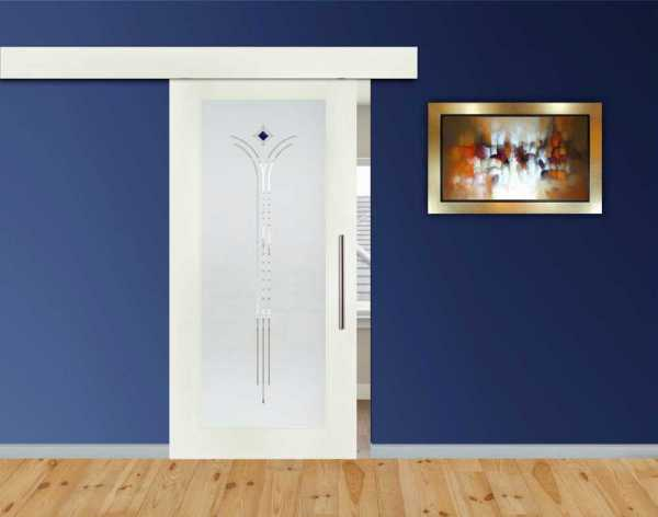 1 Lite MDF Sliding Barn Door with Glass Insert WGDA-0001
