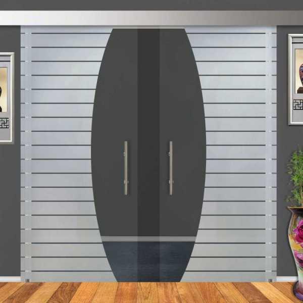 2-Leaf Glass Barn Door (Model DSGD-ALU100-0044 Semi-Private)