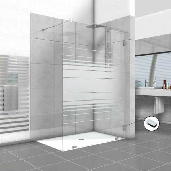 Frameless Fixed Shower Glass Panel, 54'' x 80'', Thickness:1/2 with Hardware included