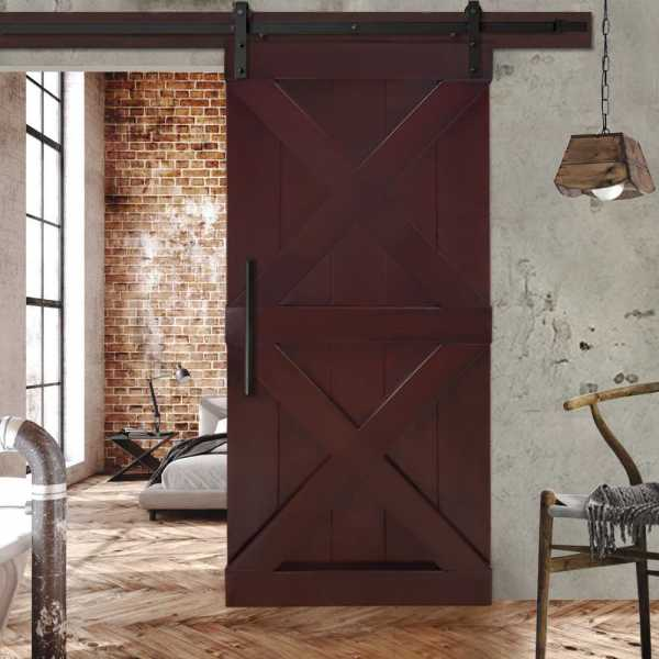 "Solid Tropical Oak Double X Sliding Wood Barn Door with Cherry Stain 36""x84"" WDLAGER-0009"