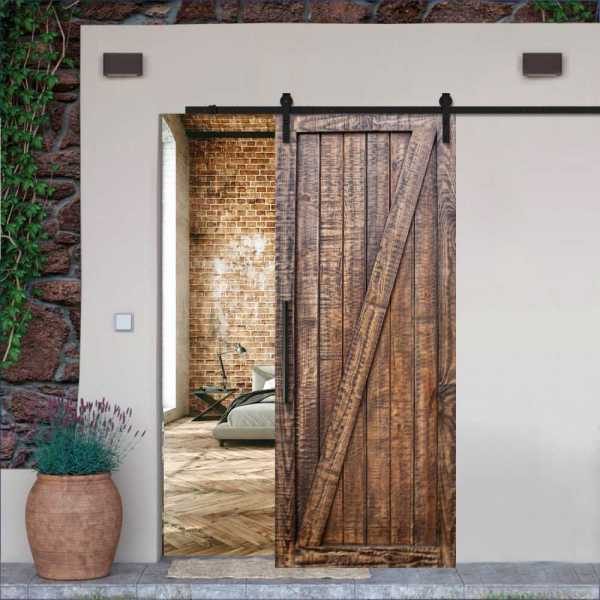 Rustica Ranch Z Barn Door WD-00010 with Walnut Stain + Carbon Steel Hardware
