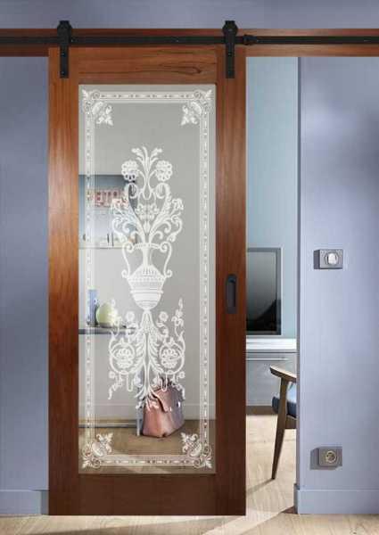Real Solid Hardwood Sliding Door with Mirror Insert WMD-0101