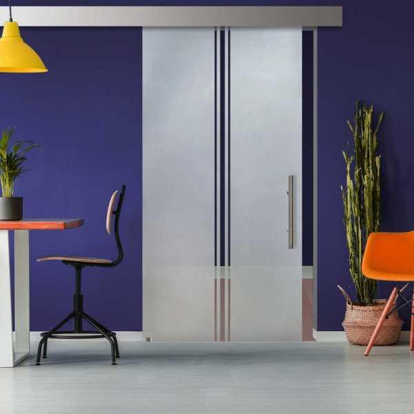 Glass Barn Door (Model SGD-ALU100-0314 Semi-Private)