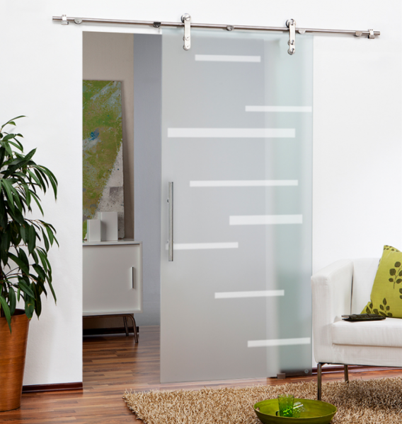 "48"" x 84"" Sliding Glass V1000 Door Full-Private with lines design"