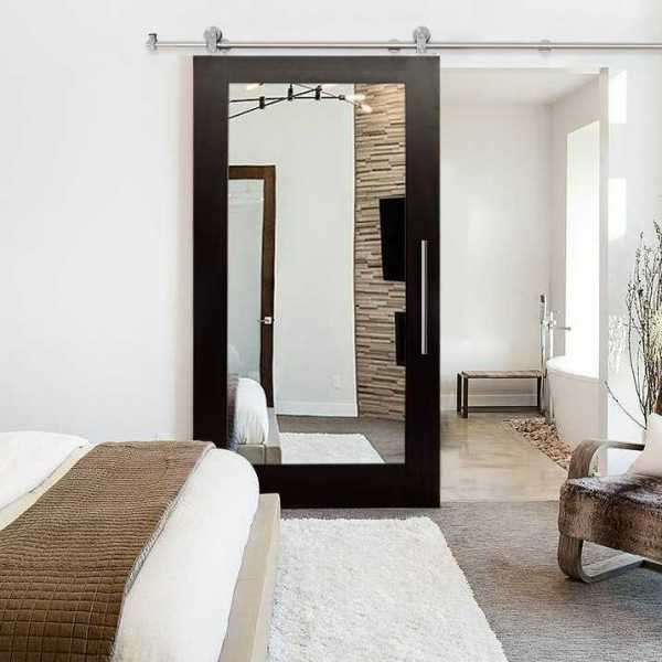 """++Sales Offers++ 32"""" x 81"""" Real Solid Hardwood Sliding Barn Door with Mirror Insert WD-0003"""