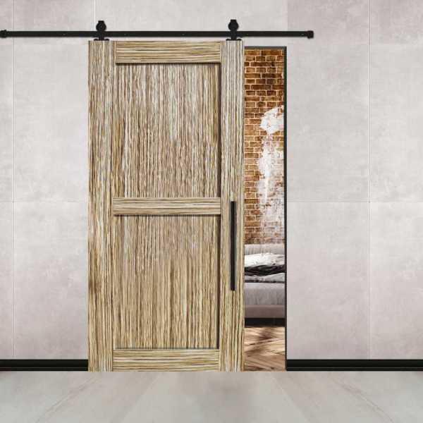 Zebrano Flush Barn Door with Carbon Steel Hardware.