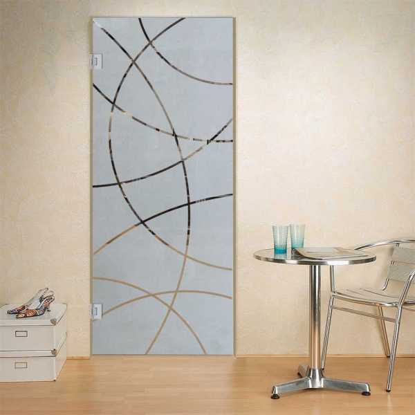 """Swing Glass Door, 32""""x80"""", Glass Thickness: 8mm, Left Opening with Semi- Private Design"""
