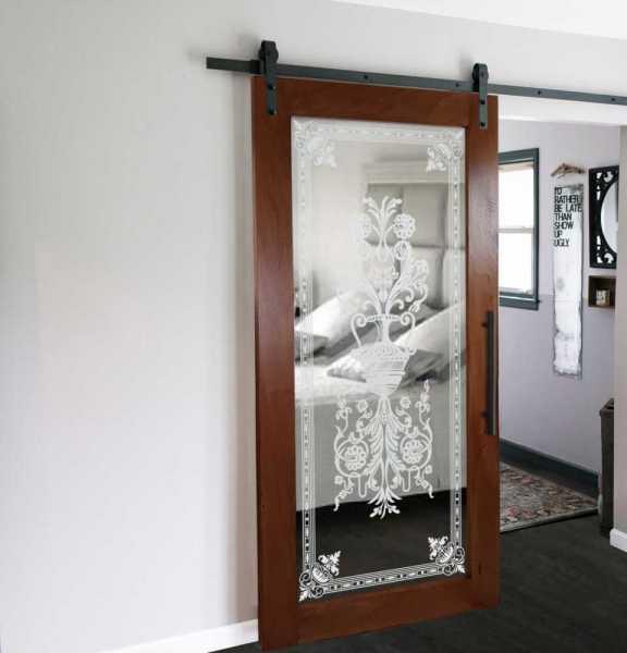 Real Solid Hardwood Sliding Barn Door with Mirror Insert WD-0008