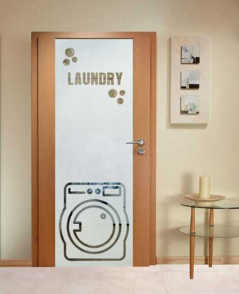 Laundry Room Solid Wood Hinged Door with Glass Insert CHWDI-0001