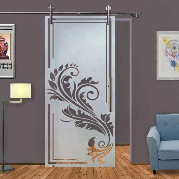 Sliding Glass Barn Door SGD-V1000-0087 semi-private