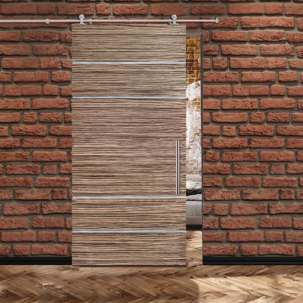 Veneer Sliding Barn Door with 4 Stainless Steel Strips + Stainless Steel Hardware and Handle