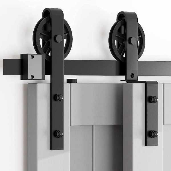 Barn Door Kit (Heavy Duty for 6ft Sliding Door), Black
