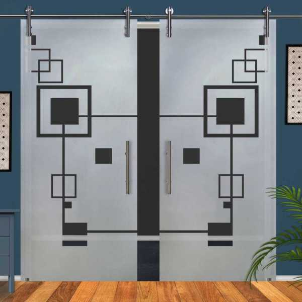 Double Glass Barn Door (Model DSGD-V1000-0069 Semi-Private)