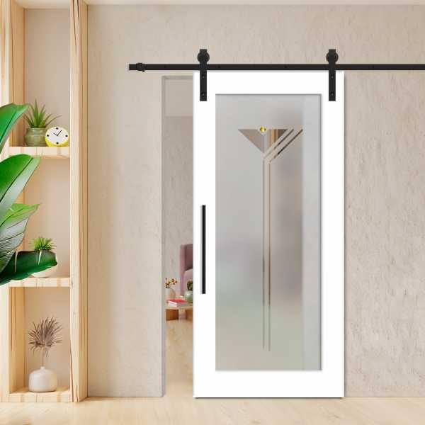 Sliding Barn Door (Model WGD-0001 Semi-Private) with Carbon Steel Sliding System