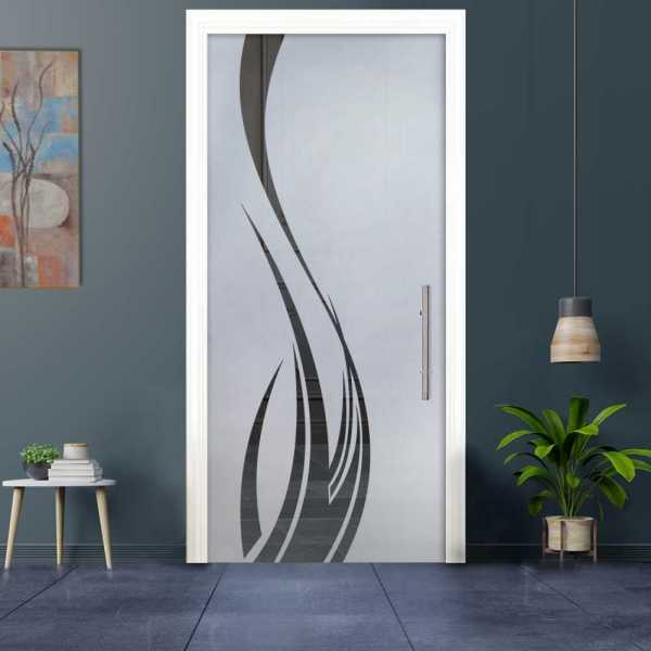 Sliding Pocket Glass Door with Frosted Design and Hardware PSGD-0039