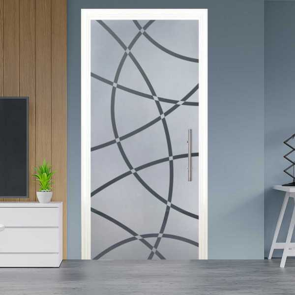 Sliding Pocket Glass Door with Frosted Design and Hardware PSGD-0010