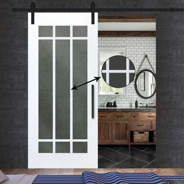 4 Lite French Barn Door with Clear, Frosted or Textured Glass Insert WGD-0027