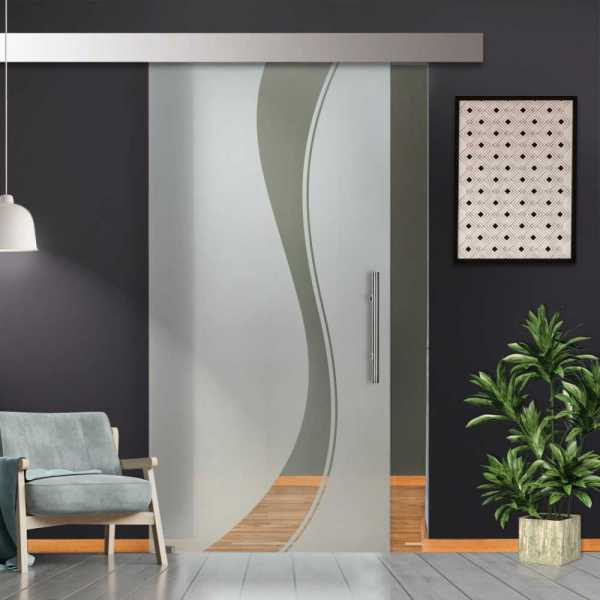 Single Sliding Glass Barn Door SGD-ALU100-0028