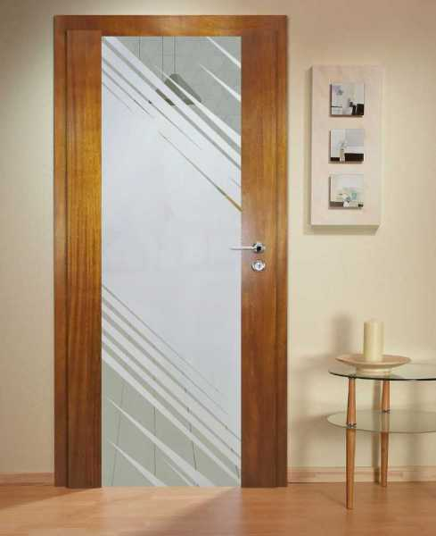 Solid Wood Hinged Door with Glass Insert HWDI-0019