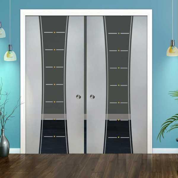 Double Pocket Glass Barn Door (Model DPSGD-0094 Semi-Private)_Recessed Grip Handle