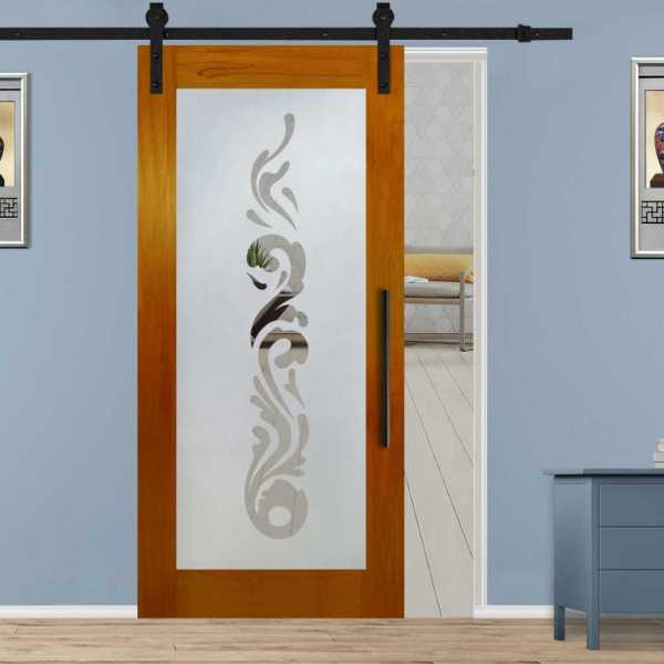 Hardwood African Oak Sliding Barn Door with Glass Insert Included Hardware WGD-0054