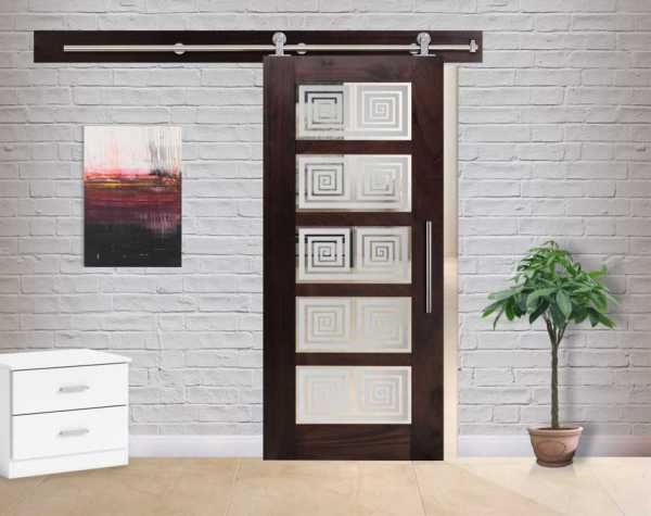 5 Lite Walnut Hardwood Sliding Barn Door with Glass Insert WGD-0058